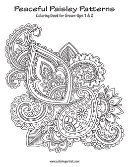 Peaceful Paisley Patterns Coloring Book for Grown-Ups 1 & 2