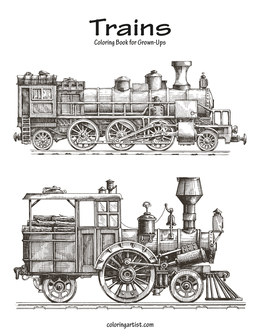 Trains Coloring Book for Grown-Ups 1