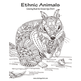 Ethnic Animals Coloring Book for Grown-Ups 3 & 4