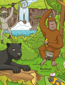 Monkeys Coloring Book 3 & 4