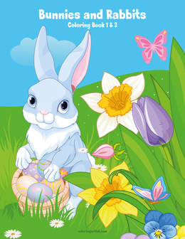 Bunnies and Rabbits Coloring Book 1 & 2