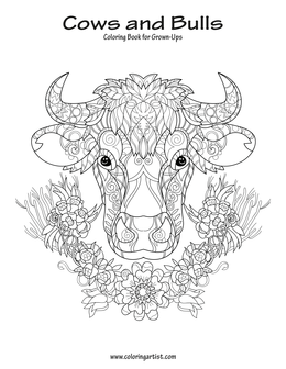 Cows and Bulls Coloring Book for Grown-Ups 1