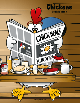 Chickens Coloring Book 4