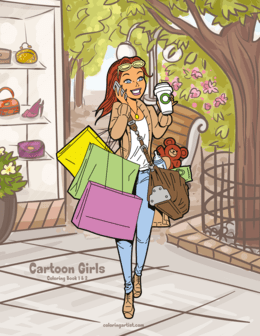 Cartoon Girls Coloring Book 1 & 2