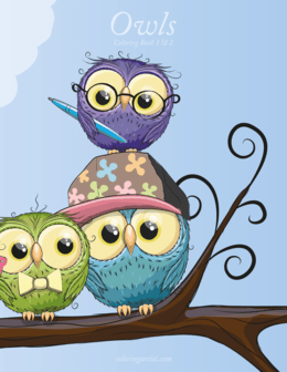 Owls Coloring Book 1 & 2