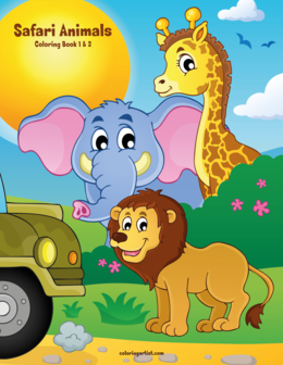 Safari Animals Coloring Book 1 & 2