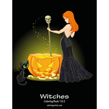 Witches Coloring Book 1 & 2