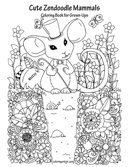 Cute Zendoodle Mammals Coloring Book for Grown-Ups 1